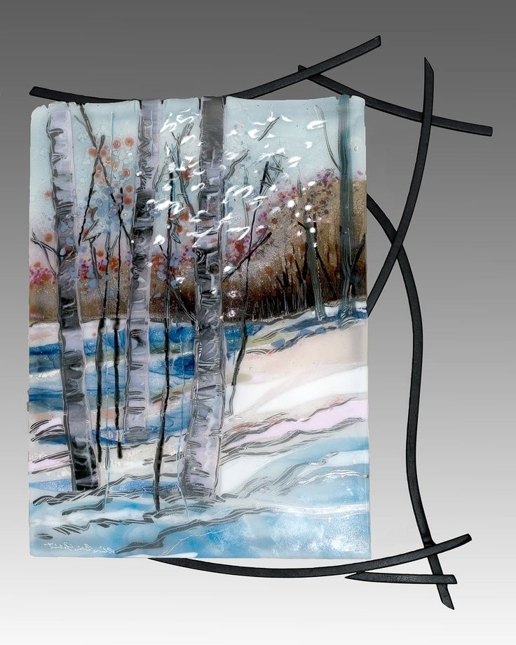 2018 Fused Glass Wall Art With Welded Steel Frame (View 1 of 15)