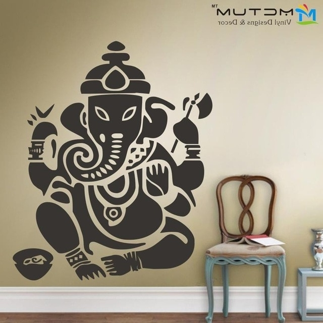 2018 Ganesh Wall Art With New Yoga Buddha Mandala Ganesh Elephant God Om Wall Decals Vinyl (Gallery 3 of 15)
