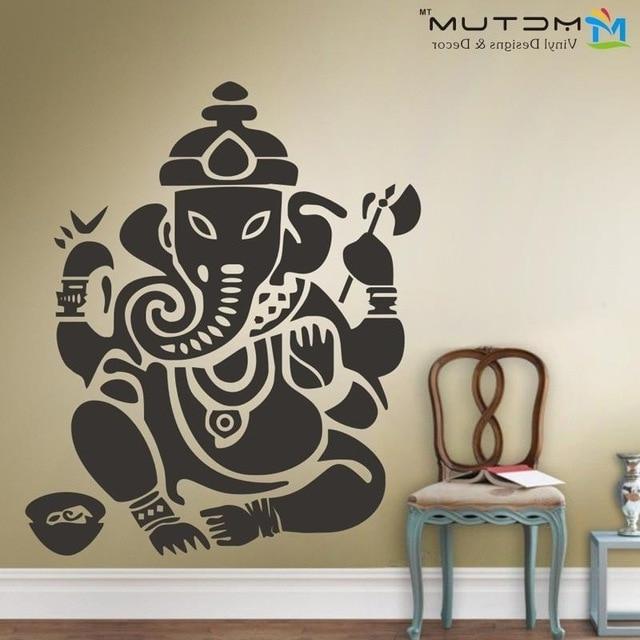2018 Ganesh Wall Art With New Yoga Buddha Mandala Ganesh Elephant God Om Wall Decals Vinyl (View 3 of 15)