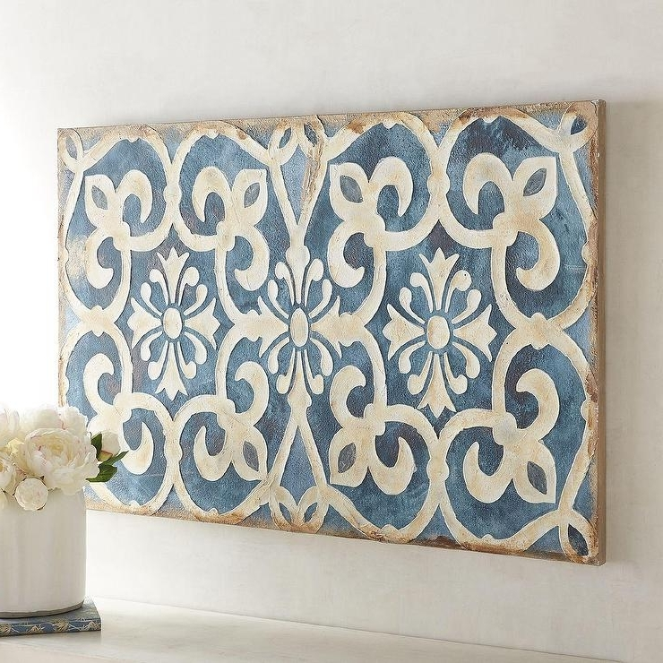 2018 Geometric Indigo Tile Wall Art In Blue And White Wall Art (Gallery 7 of 15)