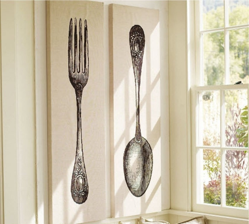 2018 Giant Fork And Spoon Wall Art With Regard To Oversized Fork And Spoon Wall Decor Chic Mirror Stunning Decoration (View 1 of 15)