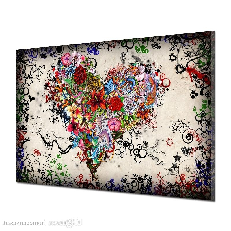 2018 Graffiti Design Abstract Wall Art Heart Flowers Canvas Prints With Fashionable Abstract Wall Art Prints (View 14 of 15)