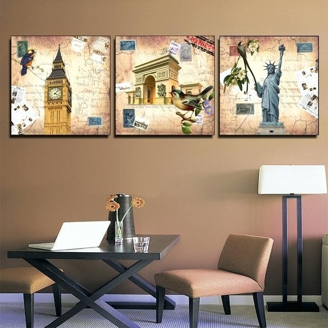 2018 Groupon Wall Art For 3 Panel Wall Art Canvas 3 Panel Wall Painting Set Vintage Wall Art (View 10 of 15)