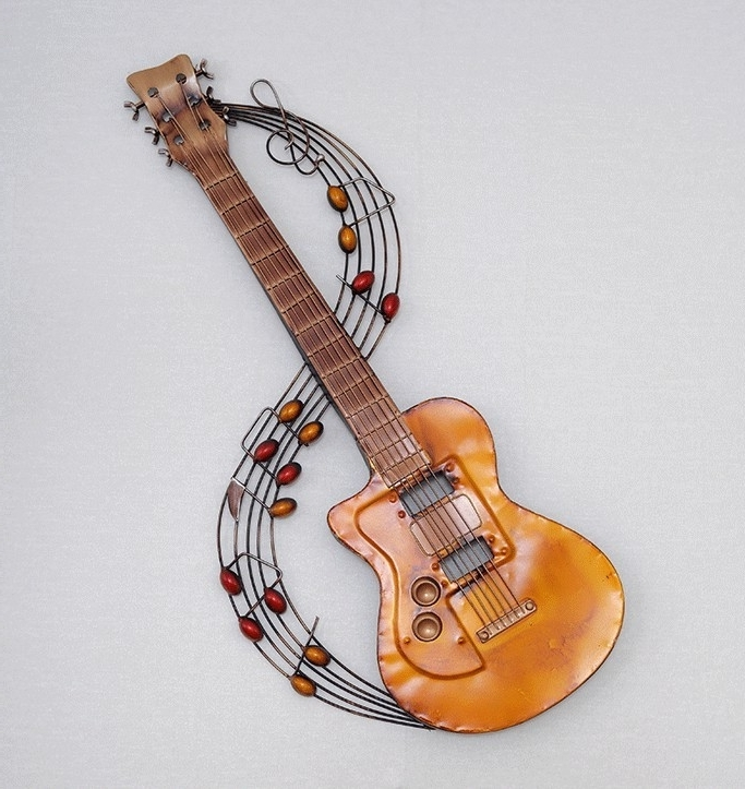 2018 Guitar Metal Wall Art Intended For Metal Home Decoration Metal Wall Art Hand Made Guitar And Music Note (View 1 of 15)