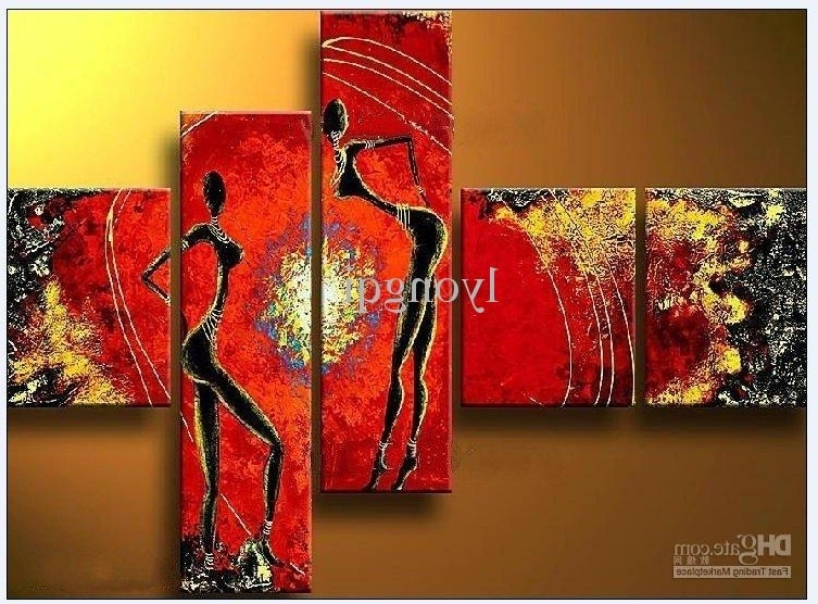 2018 Hand Painted Hi Q Modern Abstract Art Figure Oil Painting In Well Known Abstract African Wall Art (View 3 of 15)