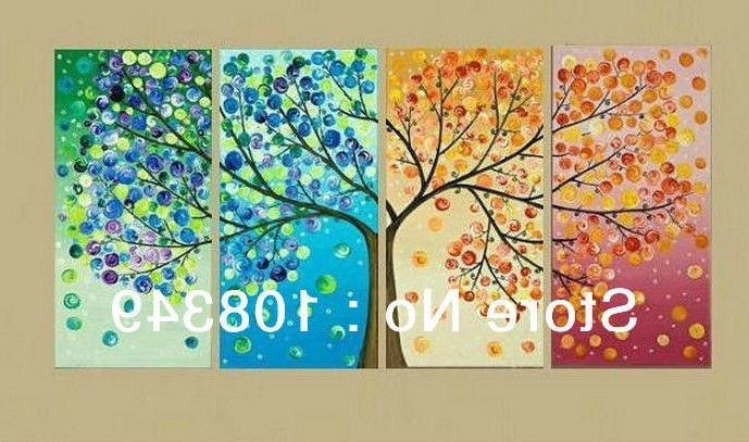 2018 Hand Painted Wall Art Four Seasons Flower Trees Wall Home Decor pertaining to Widely used Painted Trees Wall Art