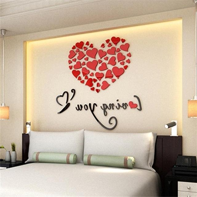 2018 Heart 3D Wall Art In Romantic Diy Art 3D Acrylic Love Heart Wall Sticker Bedroom Living (View 4 of 15)