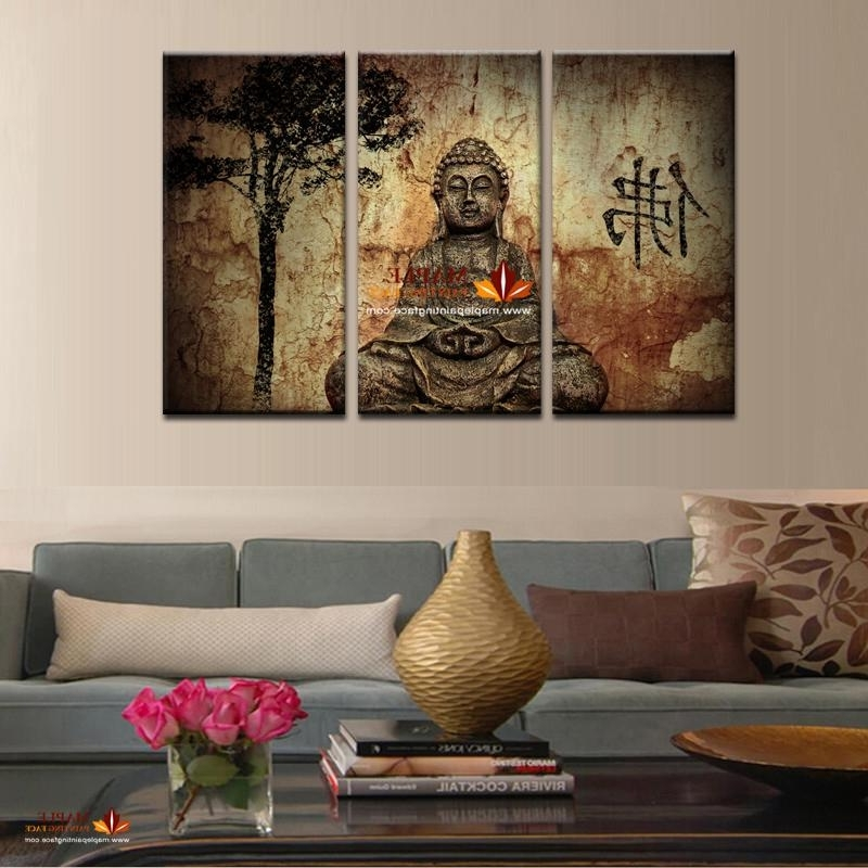 2018 Hot Sell 3 Panel Large Buddha Painting Canvas Wall Art Set Within 2018 Large Buddha Wall Art (View 2 of 15)
