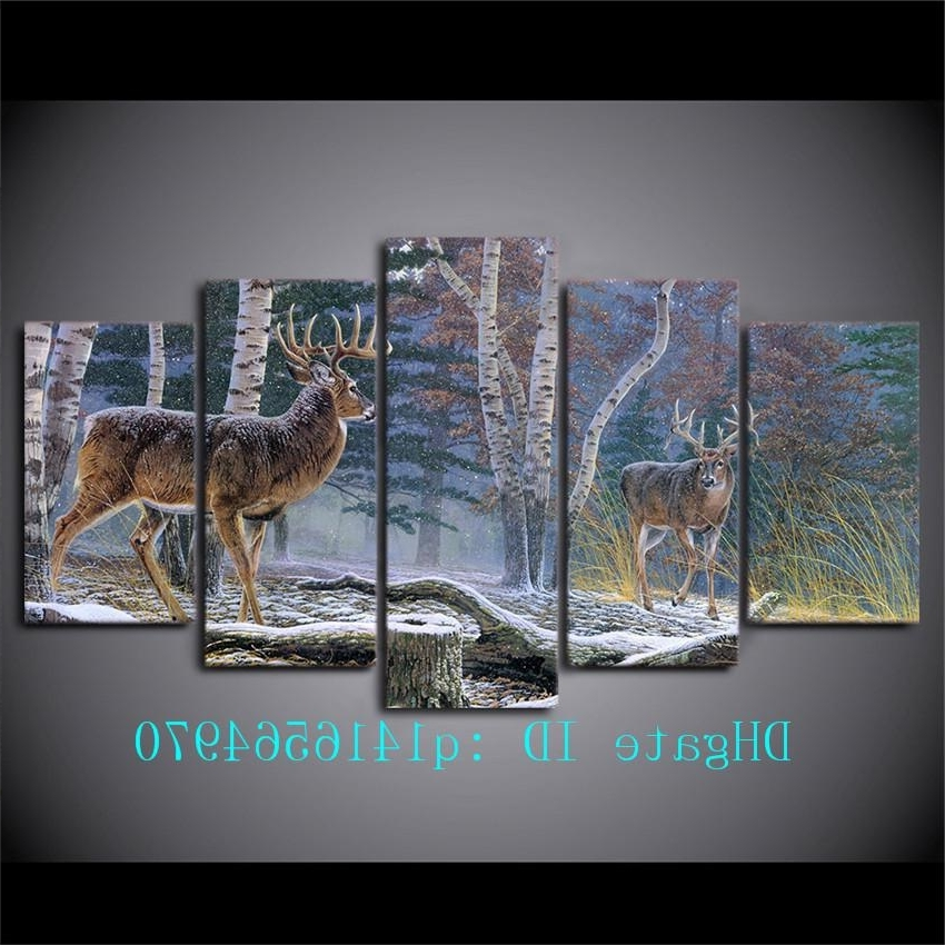2018 Jungle Two Antelope,canvas Prints Wall Art Oil Painting Home Within Trendy Jungle Canvas Wall Art (View 11 of 15)