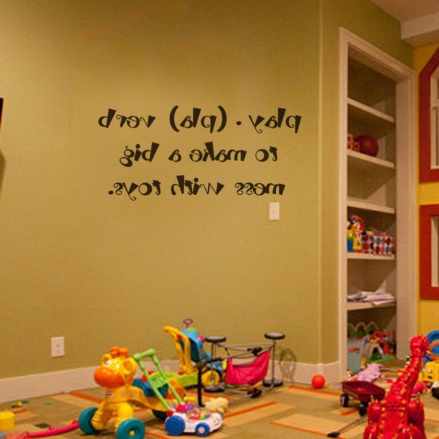 2018 Kids Wall Art Children Playroom Wall Decals Play (Pla) Verb To Make Inside Wall Art For Playroom (View 2 of 15)