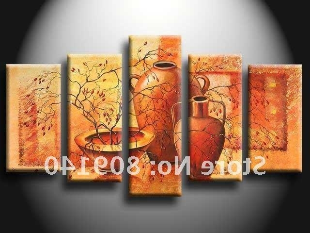 2018 Kitchen Dining Room Oil Painting Canvas Abstract Artwork Big In Trendy Abstract Wall Art For Dining Room (View 2 of 15)