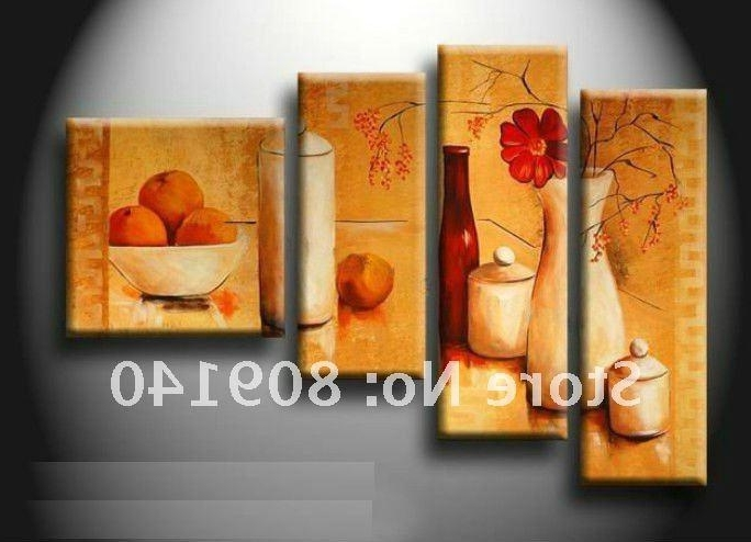 2018 Kitchen Dining Room Oil Painting Canvas Stretched Artwork In Popular Abstract Wall Art For Dining Room (View 3 of 15)