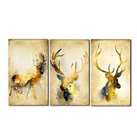 2018 La Vie 3 Panel Wall Art Golden Deers Stag With Long Antler Poster Pertaining To Stag Wall Art (View 1 of 15)