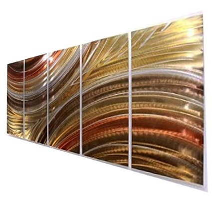 2018 Large Abstract Metal Wall Art For Amazon: Extra Large Brown, Copper & Gold Earthtone Modern (View 2 of 15)