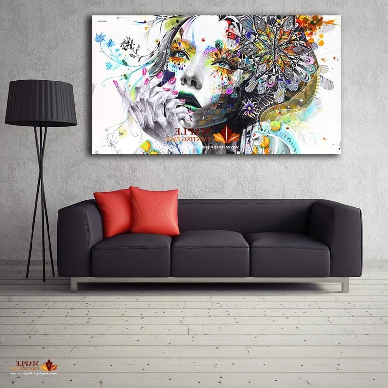 2018 Large Canvas Painting Modern Wall Art Girl With Flowers Oil With Regard To Widely Used Large Modern Wall Art (View 2 of 15)