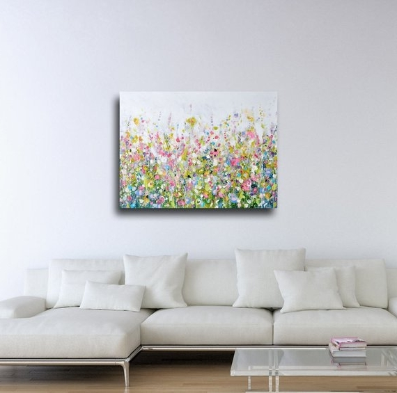 2018 Large Floral Wall Art Canvas Meadow Art Abstract Floral (View 1 of 15)