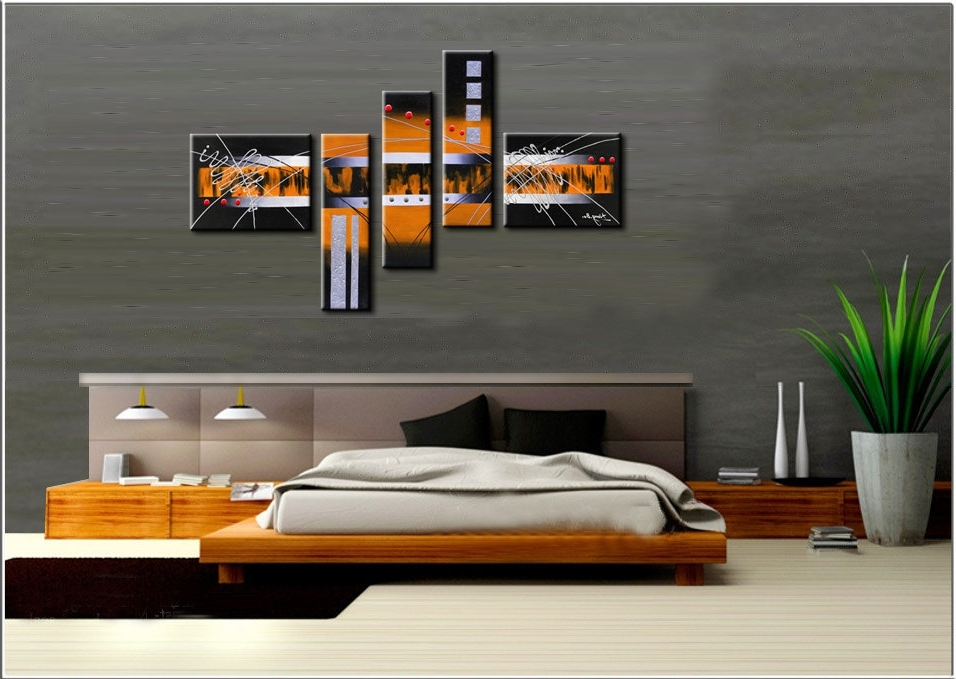 2018 Large Hand Painted Modern Wall Art Picture For Living Room Decor Inside Abstract Orange Wall Art (View 1 of 15)