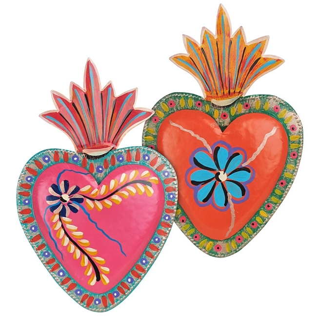 2018 Mexican Metal Art Throughout Painted Tin Heart Mexican Folk Art Wall Plaques – Set Of  (View 2 of 15)