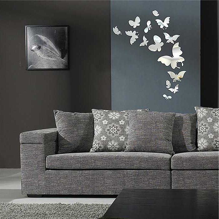 2018 Modern Mirror Wall Art With Regard To 25*butterfly Modern Mirror Wall Home Decal Decor Art Stickers (View 3 of 15)