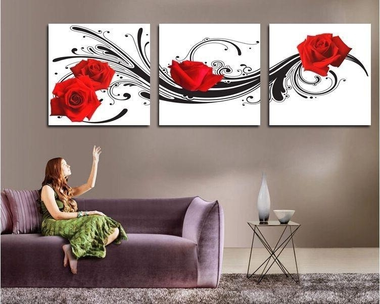 2018 Modern Wall Art Decor Red Rose Flower Picture Printed Living Pertaining To Recent 3 Piece Modern Wall Art (Gallery 1 of 15)