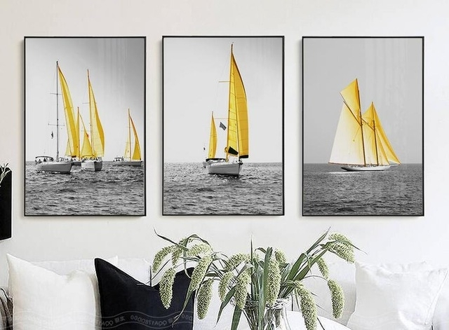 2018 Nordic Poster Sea Yellow Boat Wall Art Painting Posters Prints In Boat Wall Art (View 1 of 15)