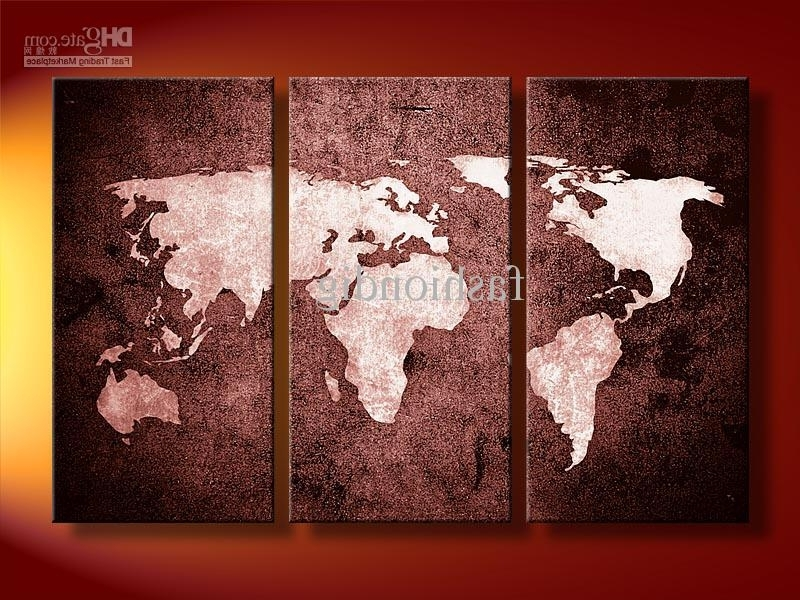 2018 Oil Painting Canvas Abstract World Map Artwork Handmade Home With Most Recently Released Abstract World Map Wall Art (View 4 of 15)