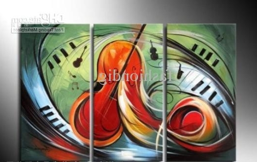 2018 Oil Painting On Canvas Abstract Music Instrument Melody Artwork Inside Well Liked Abstract Music Wall Art (View 4 of 15)