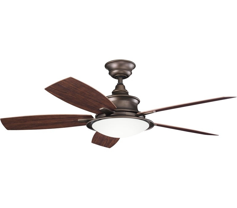 """2018 Outdoor Ceiling Fans For Canopy Pertaining To Kichler 310104Wcp Cameron 52"""" Weathered Copper Ceiling Fan (View 1 of 15)"""