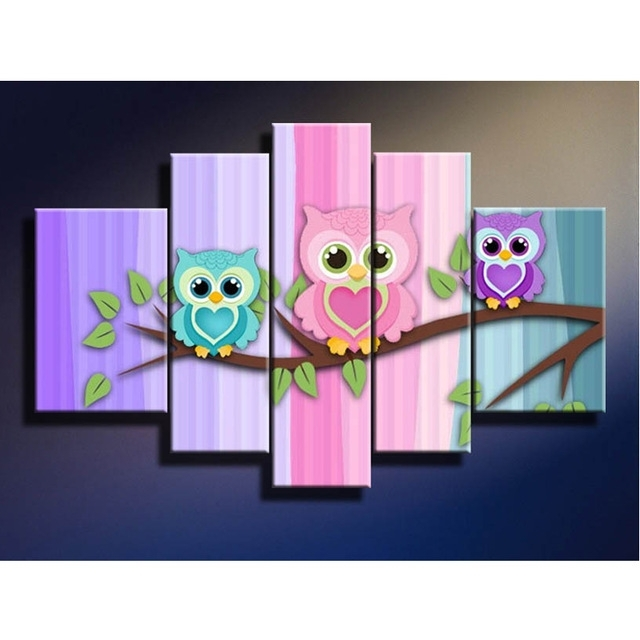 2018 Paintings Cute Bird Little Owl Picture Wall Art Canvas Oil In Preferred Owl Framed Wall Art (View 3 of 15)