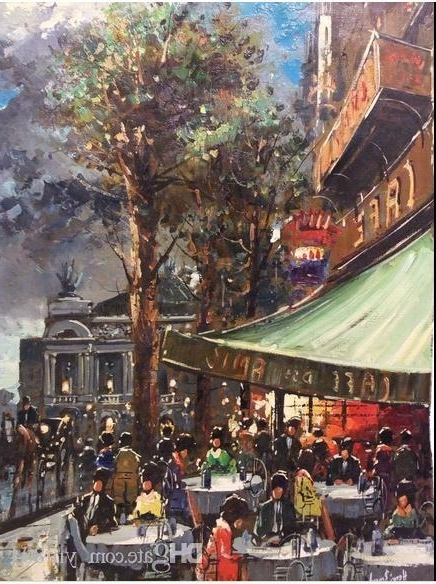 2018 Paris Cafe Street Scene Palais Garnier Opera Painting Regarding 2018 Street Scene Wall Art (View 1 of 15)