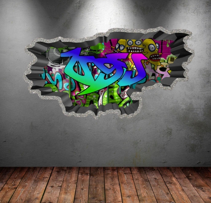 2018 Personalized Name Full Color Graffiti Wall Decalsmysticky On For Personalized Graffiti Wall Art (View 3 of 15)