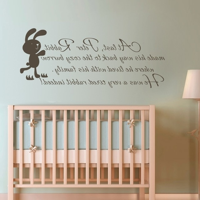 2018 Peter Rabbit Wall Art Within Children Wall Quote Peter Rabbit Baby Nursery Bedroom Kids Room Wall (View 7 of 15)