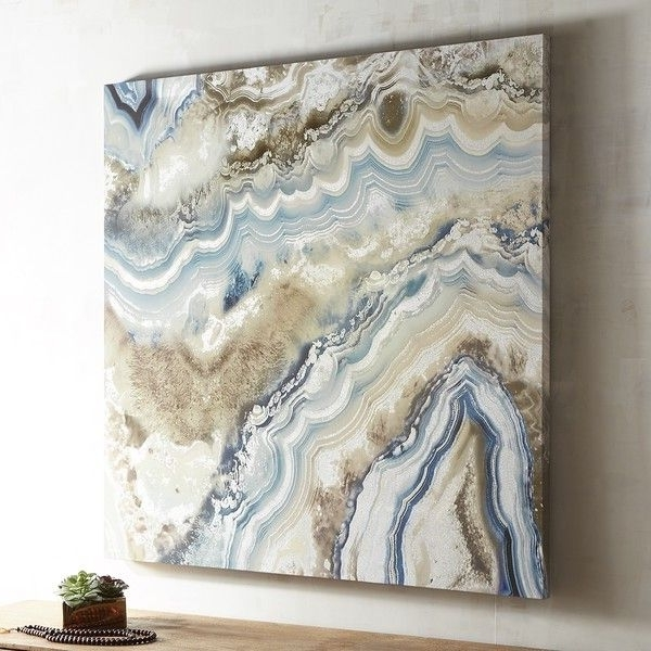 2018 Pier 1 Imports Agate Pale Blue Abstract Art ($199) ❤ Liked On Inside Pier One Abstract Wall Art (View 1 of 15)