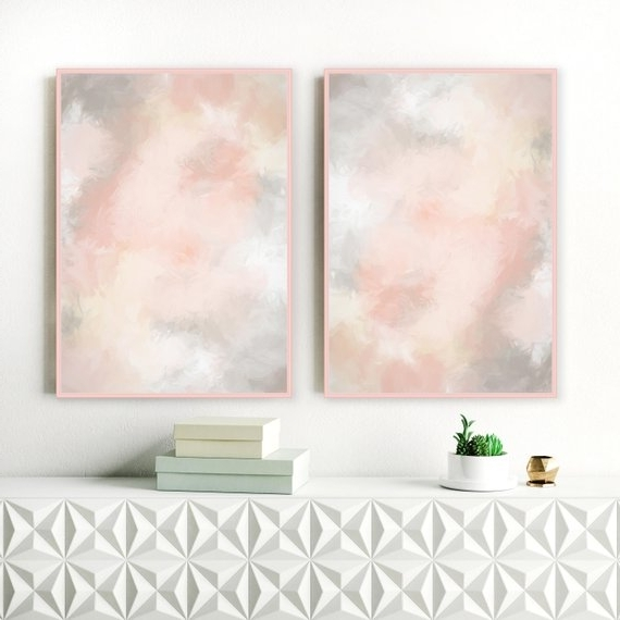 2018 Pink And Grey Wall Art Intended For Blush Pink And Grey Wall Art Printable Lounge Wall Art (Gallery 4 of 15)