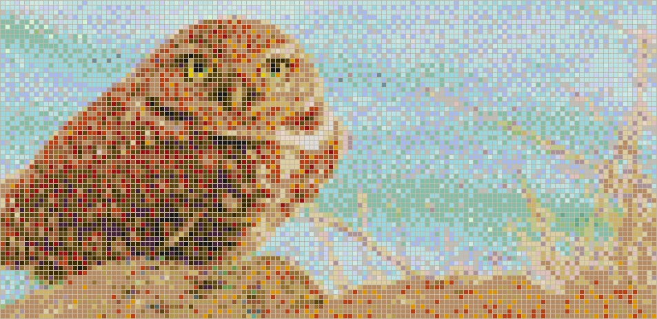 2018 Pixel Mosaic Wall Art Inside Burrowing Owl – Framed Mosaic Wall Art (Gallery 1 of 15)
