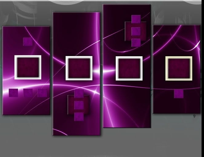 2018 Plum Coloured Wall Art With Regard To Large Plum And Purple Abstract Squares Canvas Picture Split Multi (View 15 of 15)