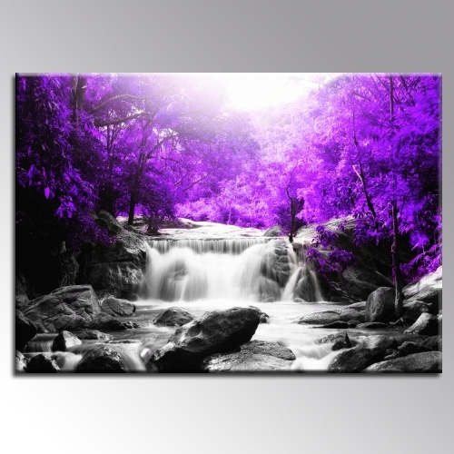 2018 Purple Canvas Wall Art with Beautiful Purple Trees Waterfall Landscape Canvas Wall Art Print