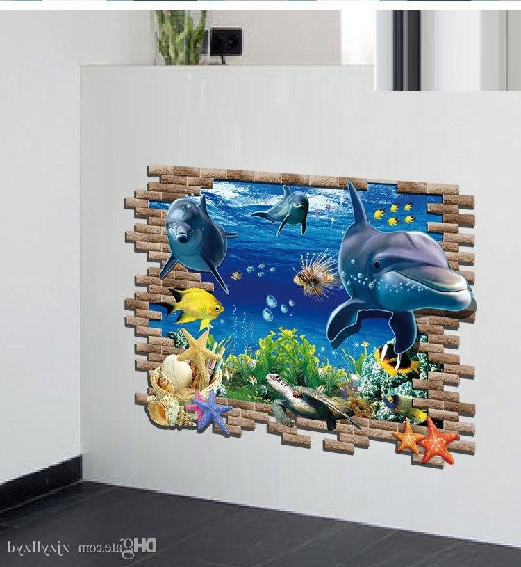 2018 Pvc Cartoon Sea Animals 3D Wall Stickers Kids Home Decoration Wall With Regard To Animals 3D Wall Art (View 6 of 15)