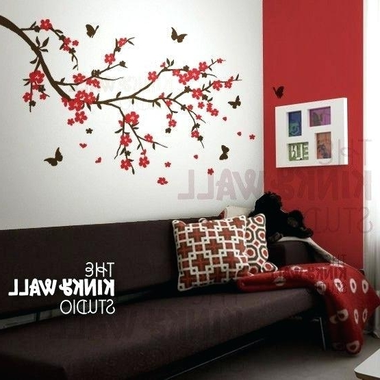 2018 Red Cherry Blossom Wall Art Throughout Red Cherry Blossom Wall Art Tree Wall Decal Cherry Blossom Want This (View 2 of 15)