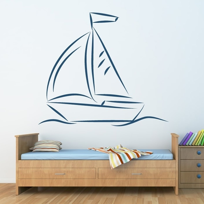 2018 Sail Boat Wall Sticker Boat Wall Art Throughout Boat Wall Art (View 2 of 15)