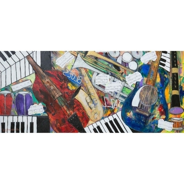 "2018 Shop ""jazz And Blues Notes""kelvin Henderson, Canvas Giclee Wall Within Abstract Musical Notes Piano Jazz Wall Artwork (View 14 of 15)"