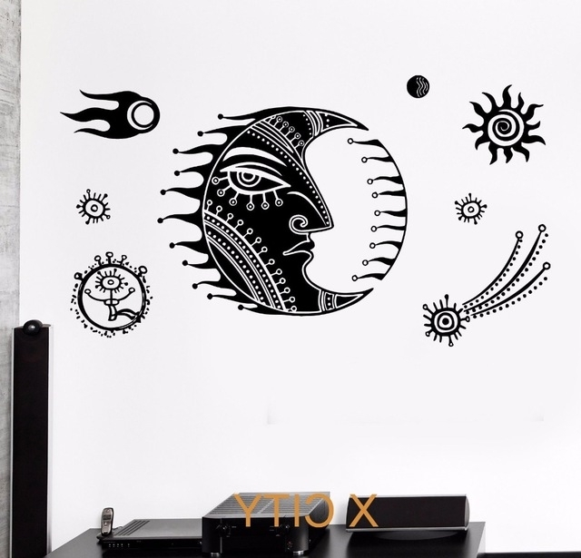 2018 Space Stencils For Walls With Cartoon Moon Star Space For Children Kids Bedroom Wall Art Decal (Gallery 11 of 15)