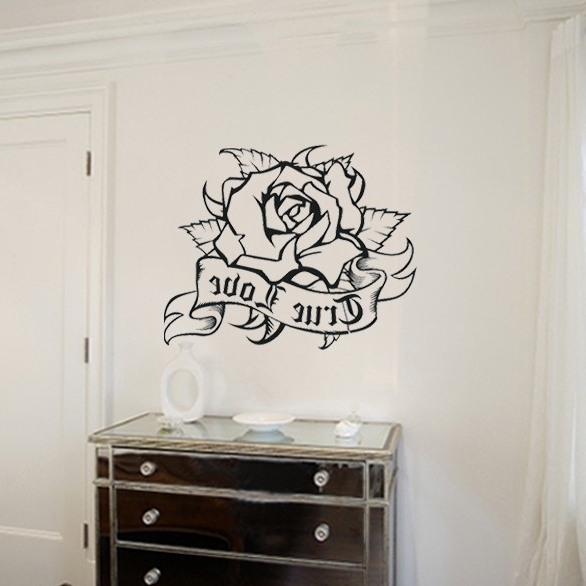 2018 Tattoos Wall Art In Rose Wall Decal Living Room Home Decor Removable Vinyl Art Stickers (View 3 of 15)