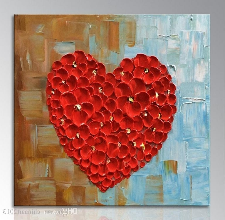 2018 Unframed Hand Painted Red Heart Oil Painting On Canvas Abstract Throughout 2018 Abstract Heart Wall Art (View 2 of 15)