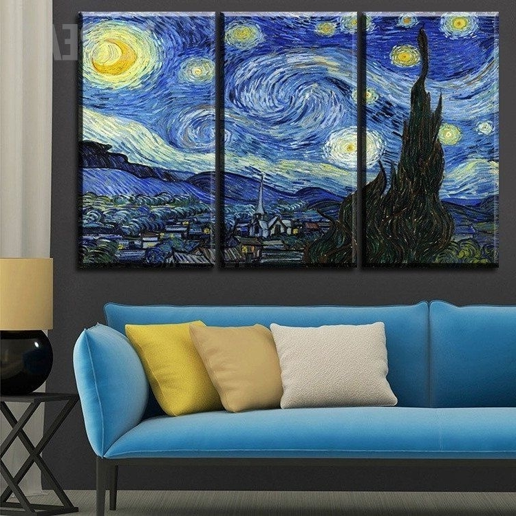 2018 Van Gogh's The Starry Night Painting – 3 Piece Canvas Painting Within Vincent Van Gogh Multi Piece Wall Art (View 1 of 15)