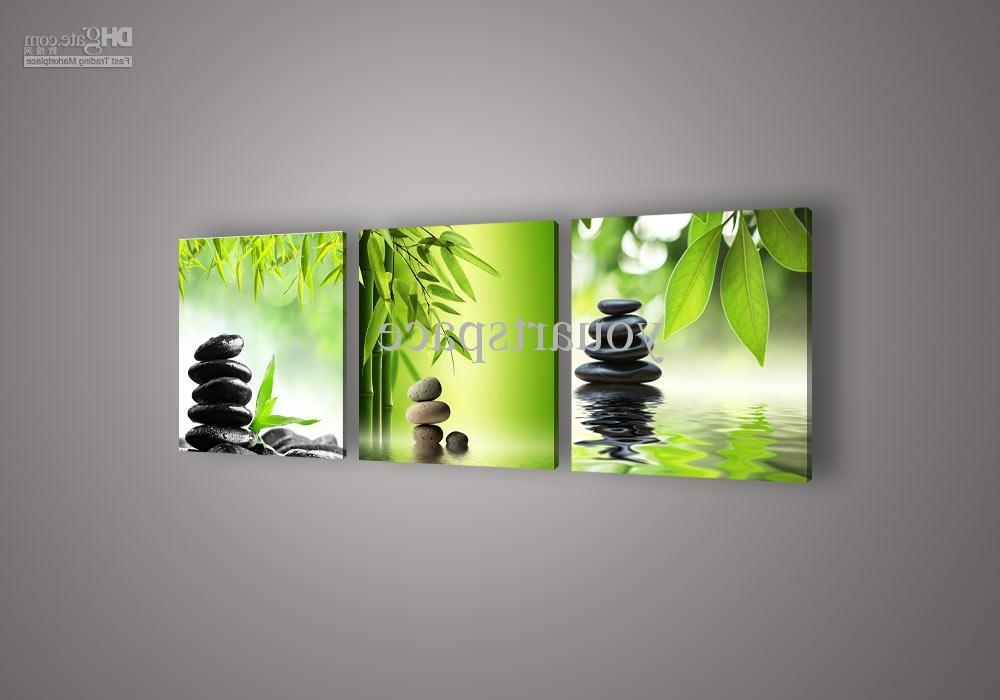 2018 Wall Art Picture Botanical Feng Shui Green Picture Oil Painting with Most Current Feng Shui Wall Art