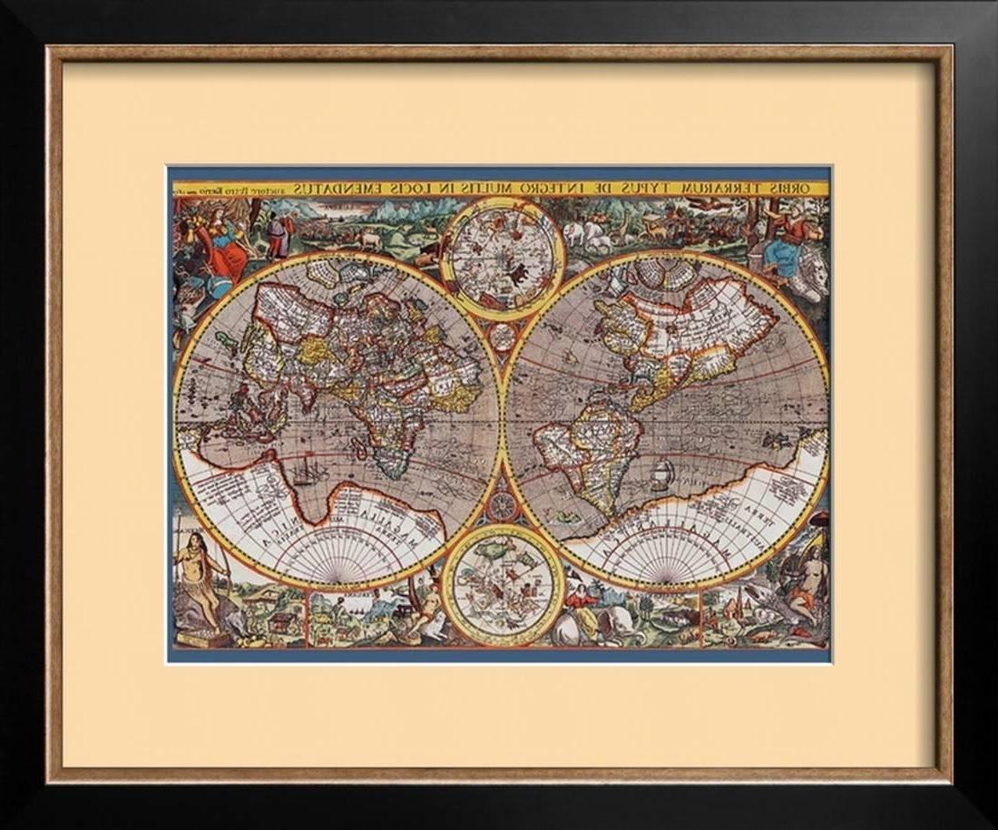 2018 Walmart Framed Art With Map Of The World Ii Framed Art Print Wall Art – 23X19 – Walmart (View 2 of 15)