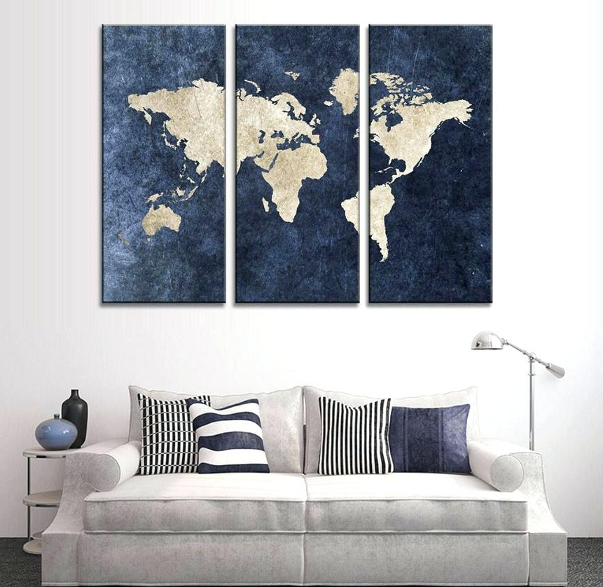 3 Panel Canvas Wall Art Large Piece Framed Blue World Map Groupon inside Famous Groupon Wall Art