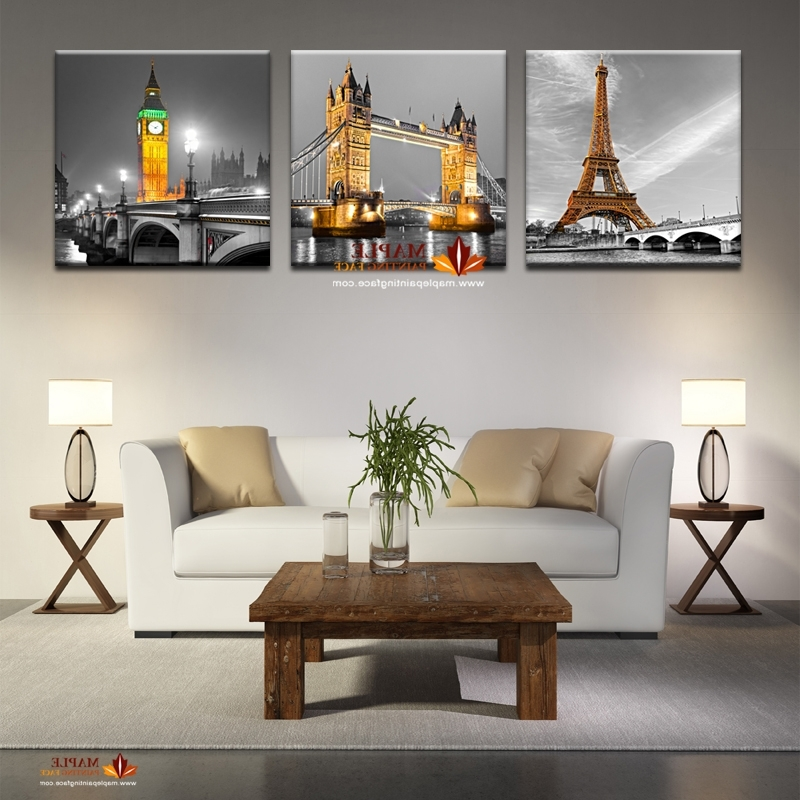 3 Panel Hot Sell Modern Abstract Paris Effiel Tower Painting Picture Within Popular Cheap Modern Wall Art (View 2 of 15)