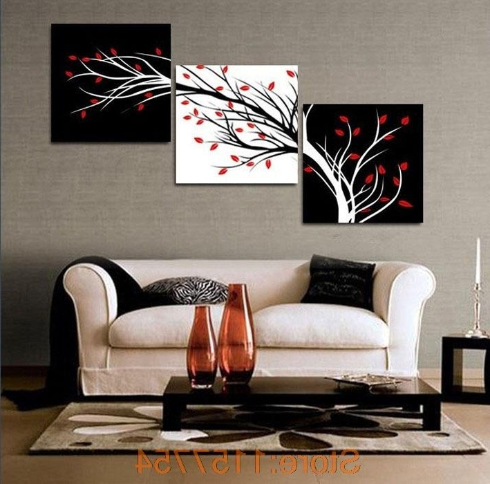 3 Panel Money Tree Modern Wall Art Black And White Decorative with Well-known Cheap Modern Wall Art